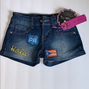 Shorts Size  5 Girls Puerto Rican Flag/Hola